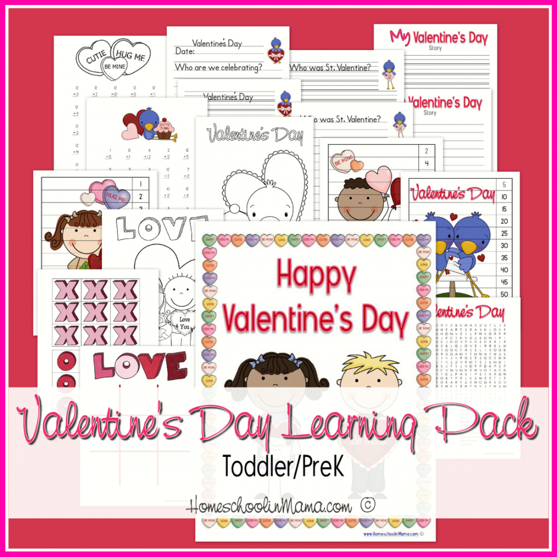 Valentines Day K-3 Learning Pack from HomeschoolinMama.com