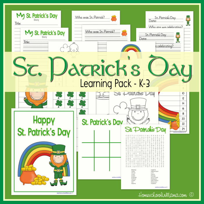 Saint Patrick's Day Learning Pack printables  for Kindergarten through second grade