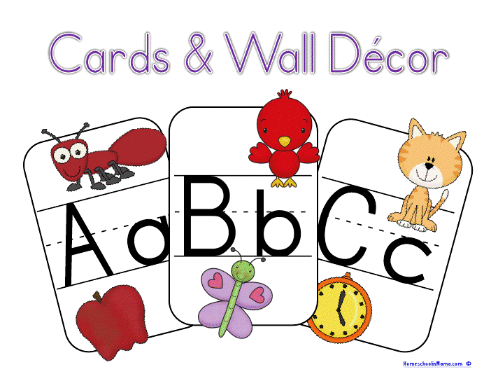 Alphabet Flashcards & Wall Decor {free} to all subscribers for the month of May!  www.HomeschoolinMama.com
